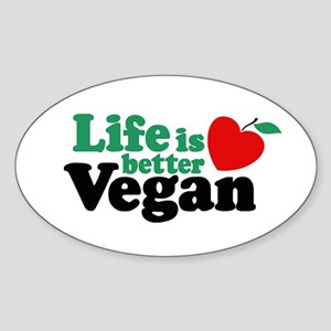 Life is Better Vegan Oval Sticker