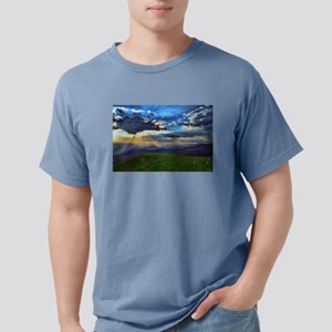 Green Hillside Meadow Dark Blue Sky and Mo T-Shirt