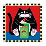 New Fat Cat Eating Treats Tile Coaster