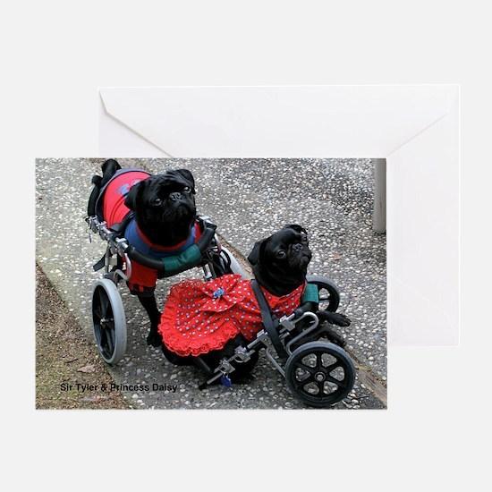 Wheelie Pugs Greeting Card