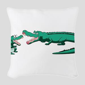 Alligator Family Woven Throw Pillow