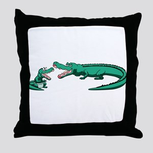 Alligator Family Throw Pillow