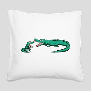 Alligator Family Square Canvas Pillow