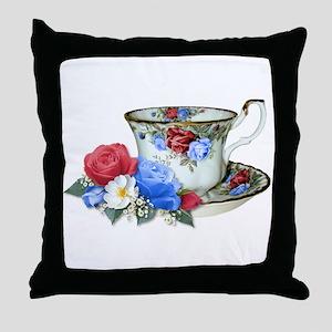 American TeaCup Throw Pillow