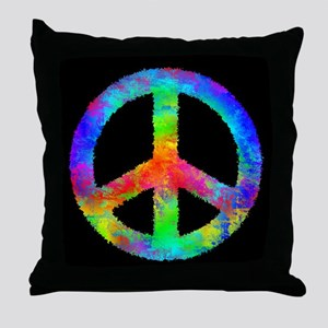 Abstract Rainbow Peace Sign Throw Pillow