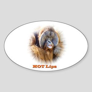 Hot Lips: Orangutan. Oval Sticker