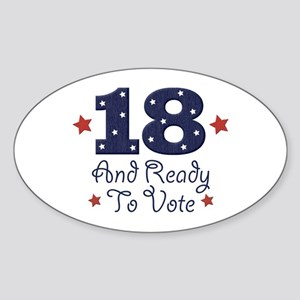 18 And Ready To Vote Oval Sticker