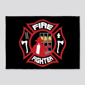 Modern Firefighter Badge 5'x7'Area Rug