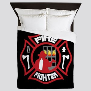 Modern Firefighter Badge Queen Duvet