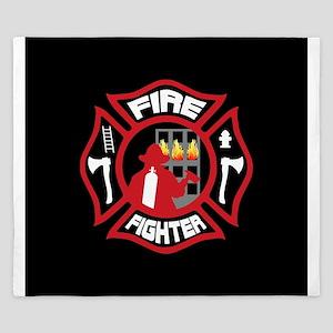 Modern Firefighter Badge King Duvet
