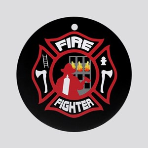 Modern Firefighter Badge Round Ornament
