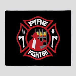 Modern Firefighter Badge Throw Blanket