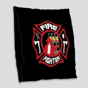 Modern Firefighter Badge Burlap Throw Pillow