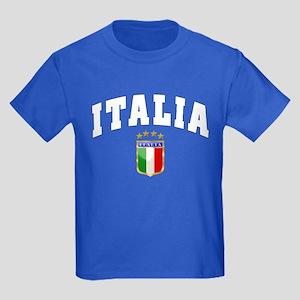 Italia 4 Star European Soccer 2012 Kids Dark T-Shi