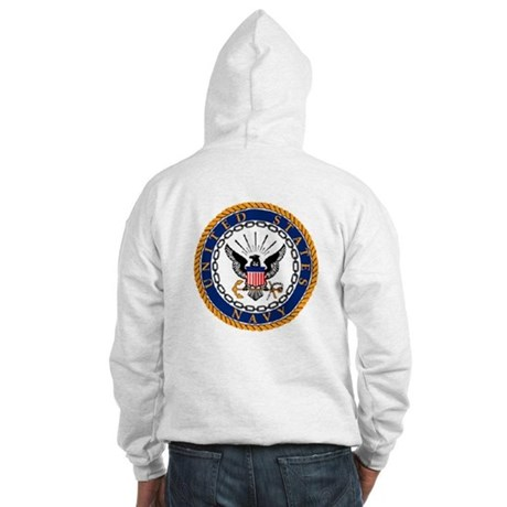 Navy Emblem - back Hooded Sweatshirt