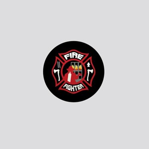Modern Firefighter Badge Mini Button