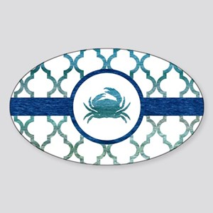 Crab: Tropical Water Moroccan Patte Sticker (Oval)
