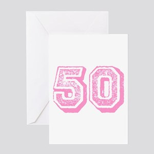 Pink 50 Years Old Birthday Greeting Card