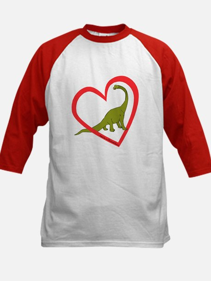 Heart Apatosaurus Kids Baseball Jersey