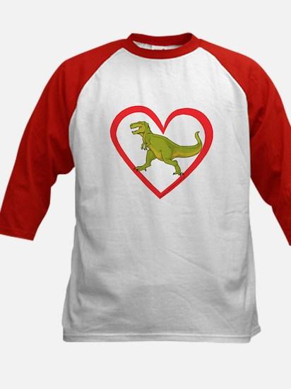 Heart Tyrannosaurus Kids Baseball Jersey
