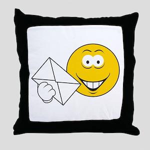 Postal Smiley Face Throw Pillow