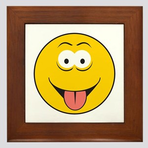 Tongue Sticking Out Smiley Face Framed Tile