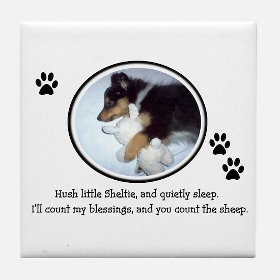 Sweet Sleeping Puppy Tile Coaster