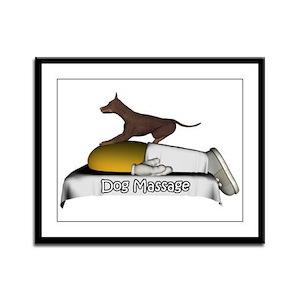 Dog Massages Smiley Framed Panel Print