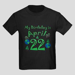 Earth Day Birthday April 22nd Kids Dark T-Shirt