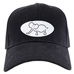 Elephant Illustration Black Cap