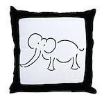 Elephant Illustration Throw Pillow