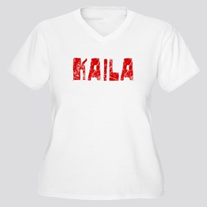 Kaila Faded (Red) Women's Plus Size V-Neck T-Shirt
