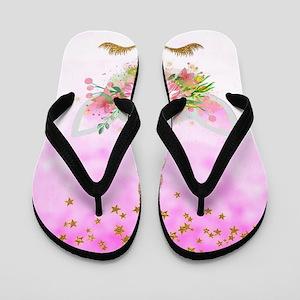 Fantasy Pink Unicorn Flip Flops