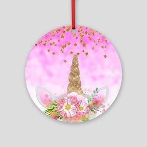 Fantasy Pink Unicorn Round Ornament