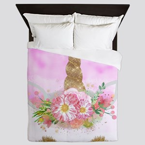 Fantasy Pink Unicorn Queen Duvet