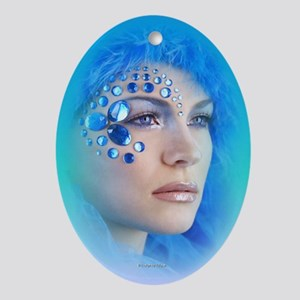 Blue Ice lady Oval Ornament