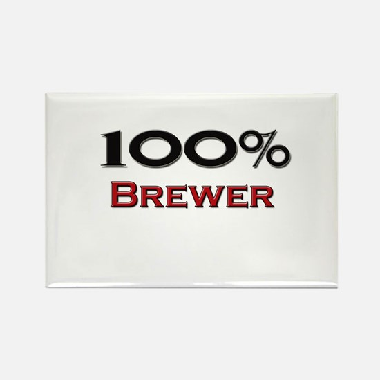 100 Percent Brewer Rectangle Magnet