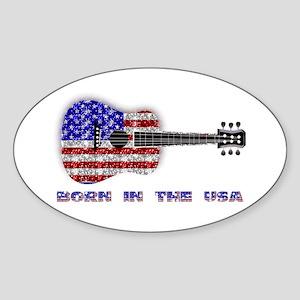 Born In The USA Guitar Oval Sticker