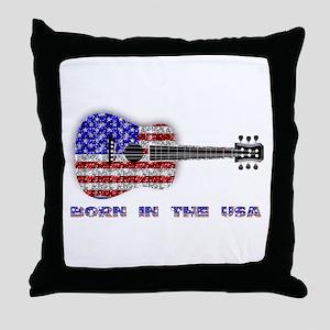 Born In The USA Guitar Throw Pillow