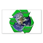 Reduce Reuse Recycle Earth Rectangle Sticker 50 p