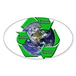 Reduce Reuse Recycle Earth Oval Sticker (50 pk)