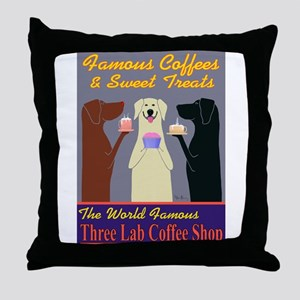 Three Lab Coffee Shop Throw Pillow