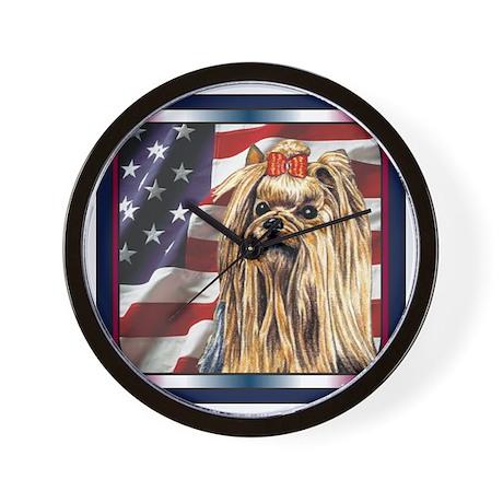 Yorkie Terrier Dog Patriotic USA Flag Wall Clock