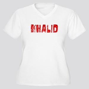 Khalid Faded (Red) Women's Plus Size V-Neck T-Shir