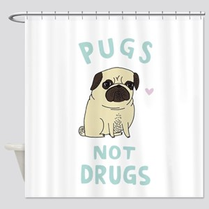 Pugs not drugs Shower Curtain