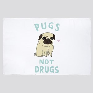 Pugs not drugs 4' x 6' Rug