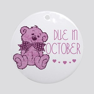Pink Marble Teddy Due In October Ornament (Round)