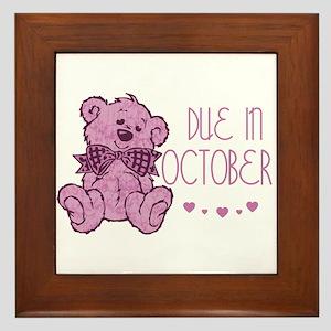 Pink Marble Teddy Due In October Framed Tile