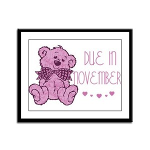 Pink Marble Teddy Due November Framed Panel Print