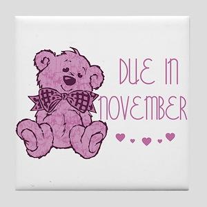 Pink Marble Teddy Due November Tile Coaster